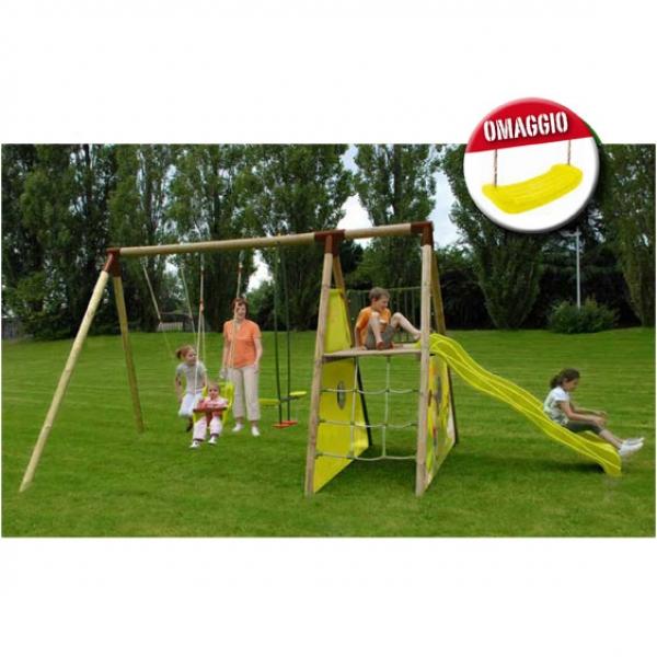 Parco giochi per bambini apache con altalene e scivolo for Scivoli da giardino ikea