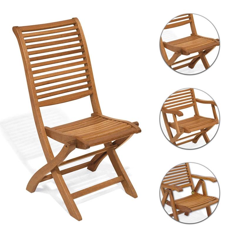 Sedia e poltrona pieghevole in legno di keruing MIMOSA | Arredo ...