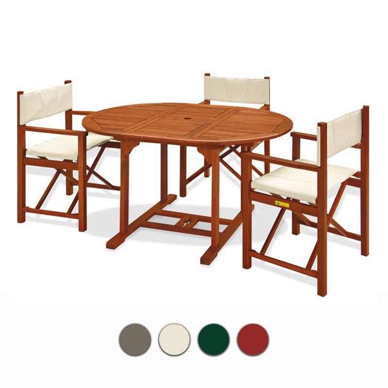 Set pranzo da giardino in legno di keruing agave lilium for Set giardino legno
