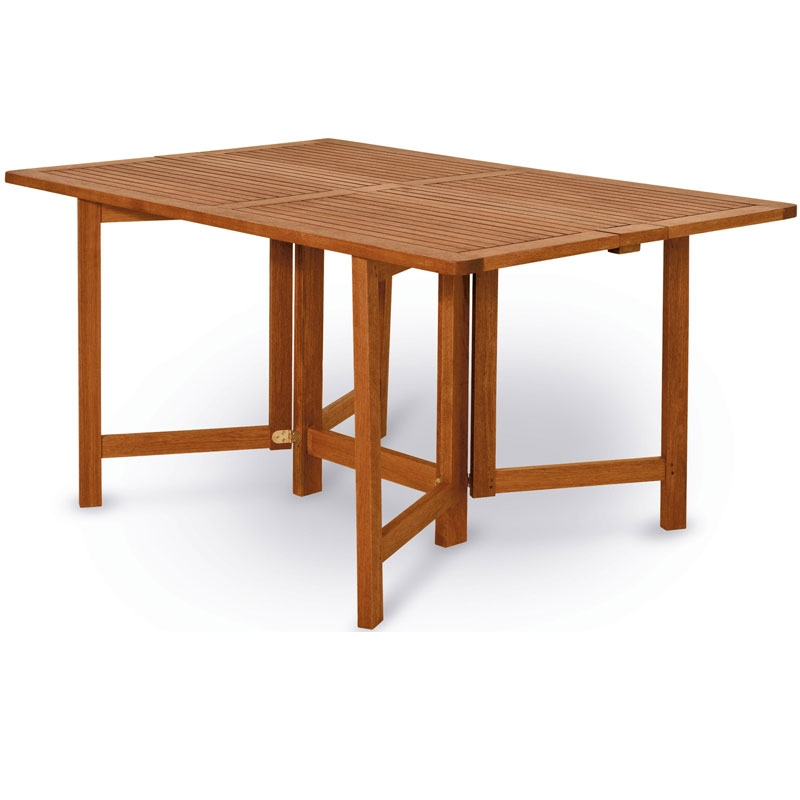 Tavolo in legno keruing papavero richiudibile ed allungabile arredo for Tavolo in legno pieghevole