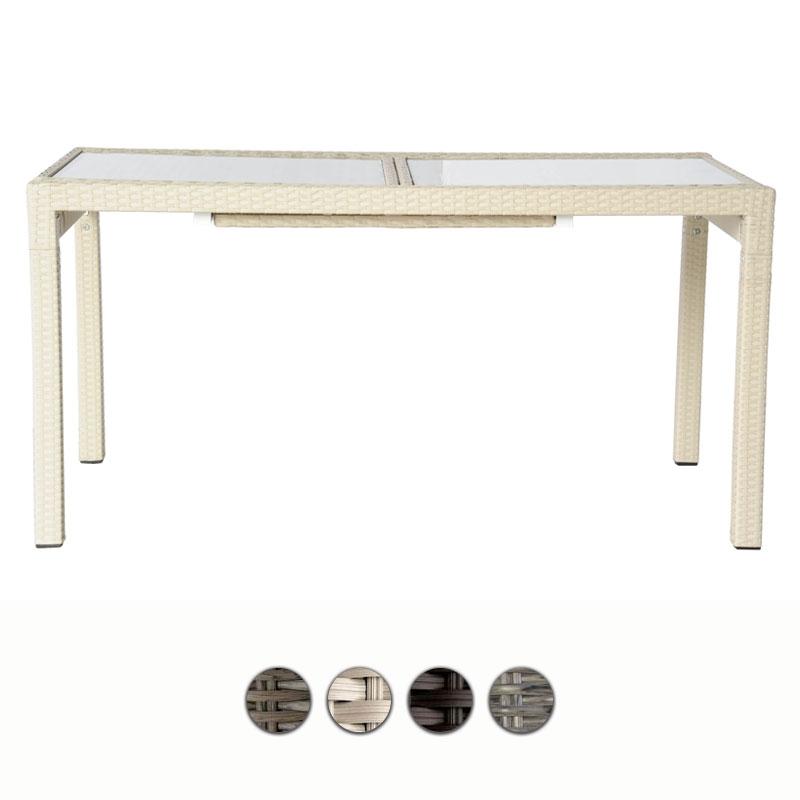 Tavolo rettangolare in wicker ROYAL allungabile, piano in vetro ...
