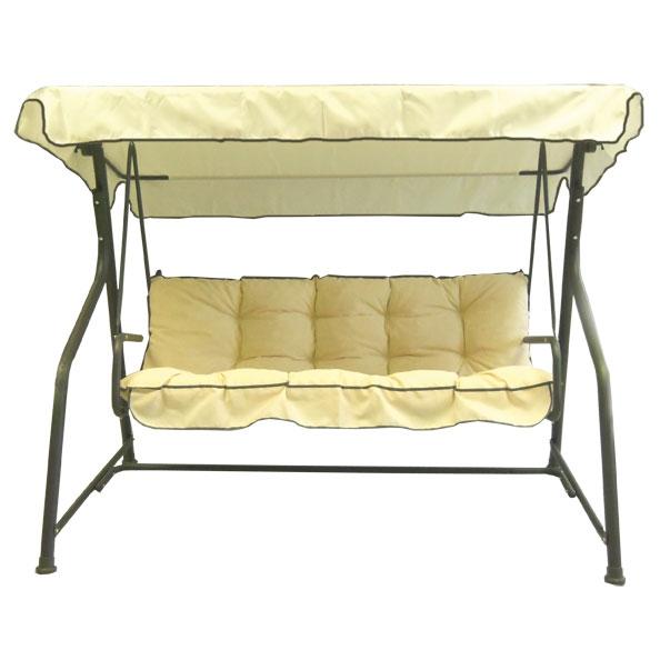 dondolo 3 posti classic in acciaio, cuscini gialli | arredo
