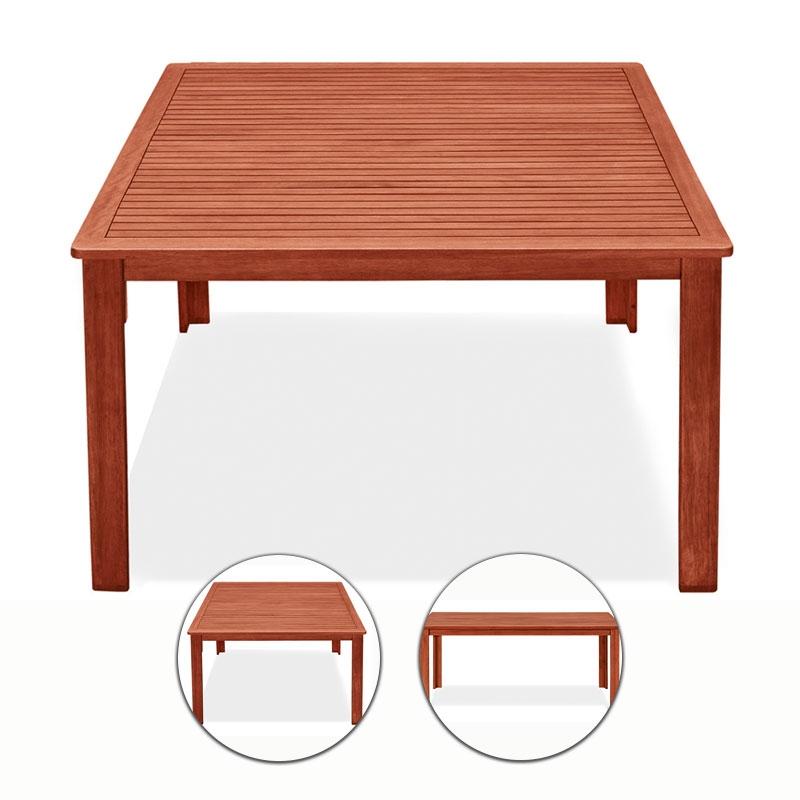 Tavolo in legno di keruing NARCISO, quadrato o rettangolare | Arredo ...