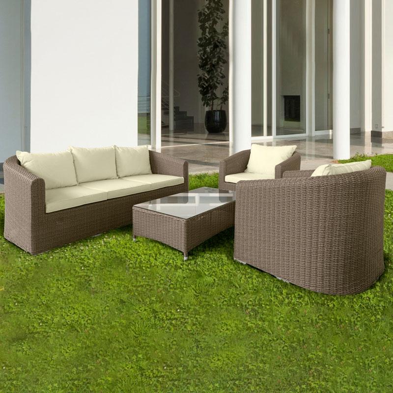 Salotto da giardino in wicker firenze con cuscini arredo - Salotto per giardino ...