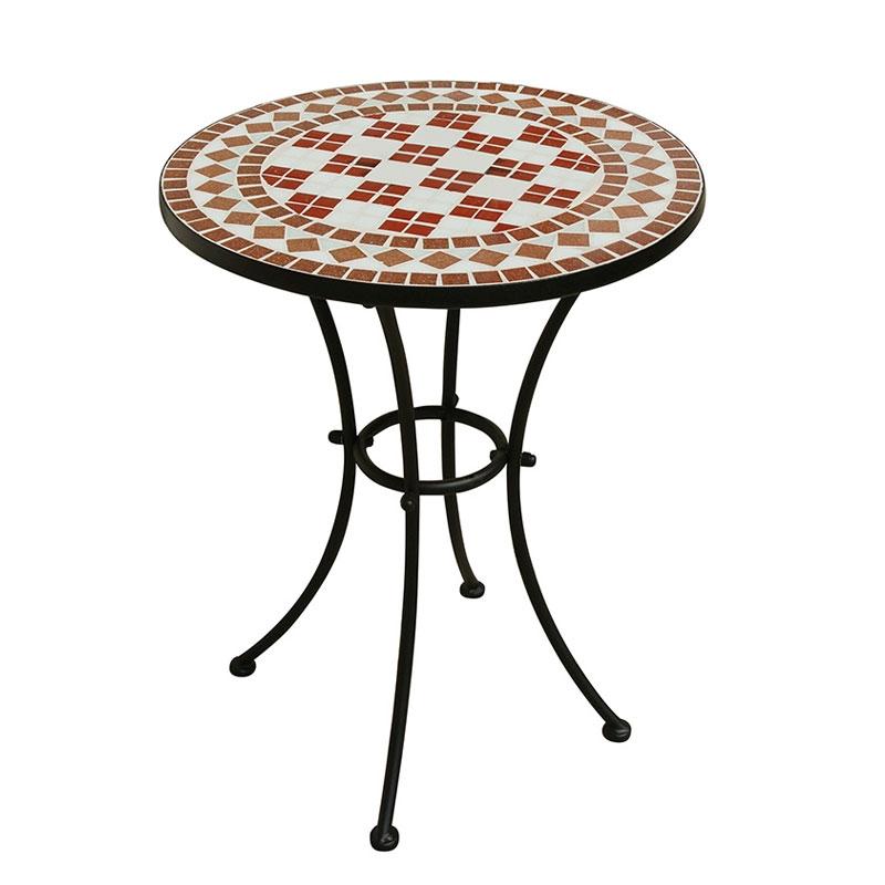 Tavolo tondo in ferro e mosaico in ceramica arredo for Tavolo rotondo mosaico