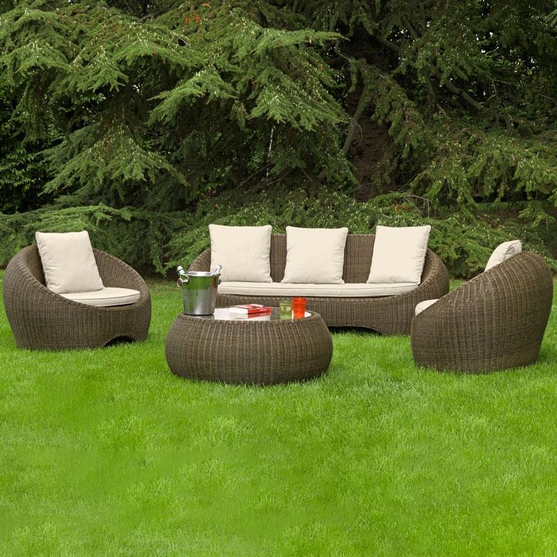 salotto da giardino in wicker barcellona con cuscini