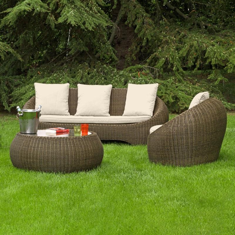 Salotto da giardino in wicker BARCELLONA con cuscini ...