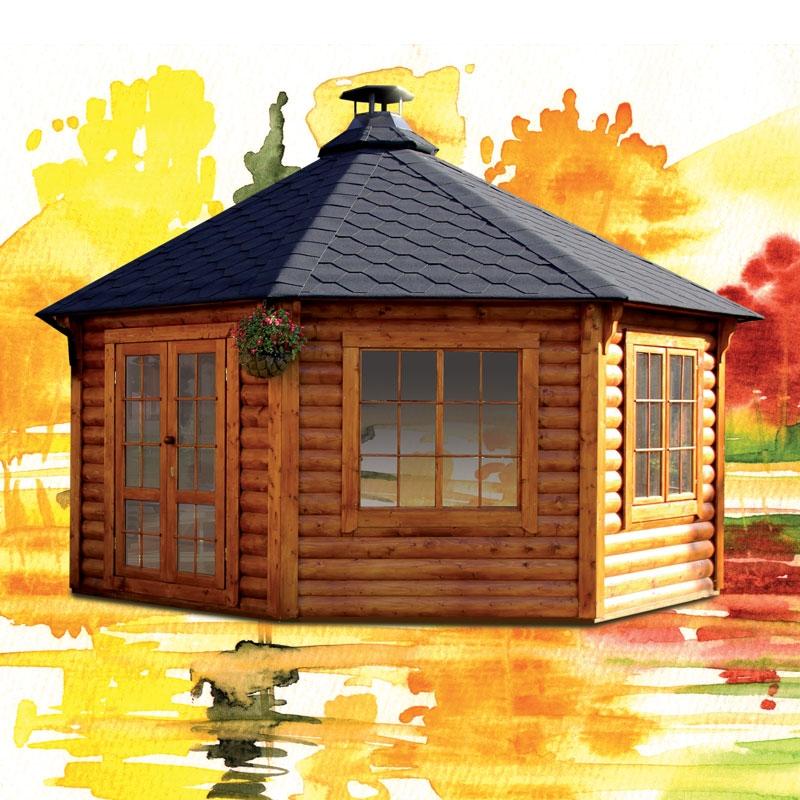 Estremamente Casetta in legno SELENE da giardino Ø 5,6 x h 3,9 m con barbecue  RI56