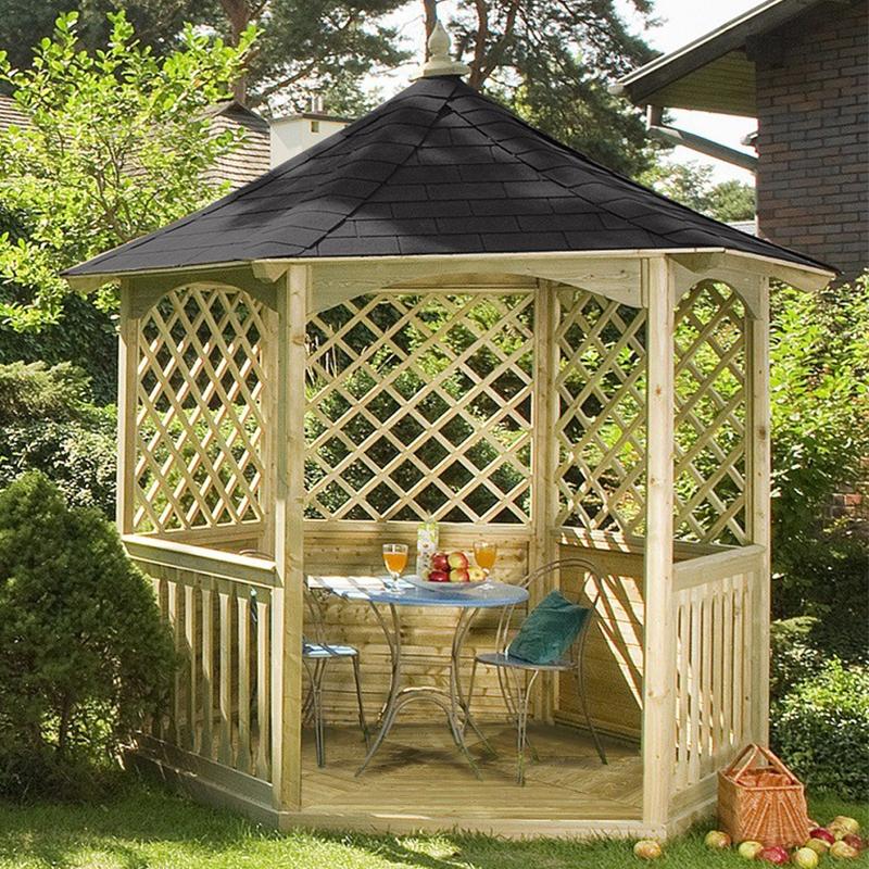 Gazebo da giardino in legno winchester arredo for Arredo giardino in legno