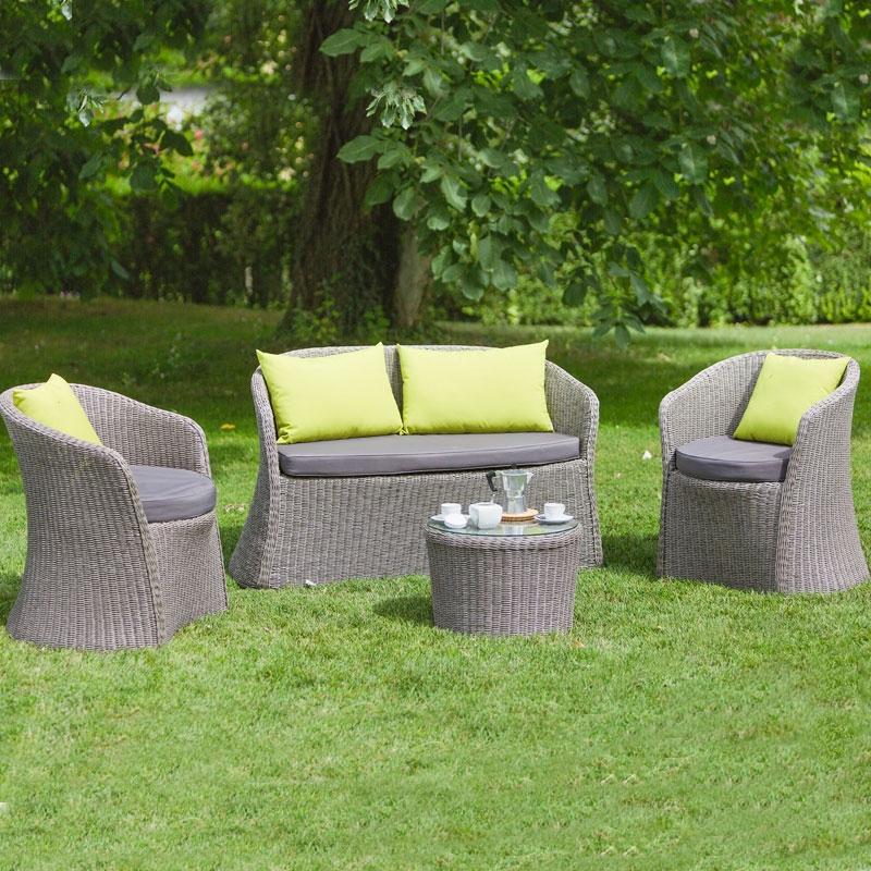 Cuscini Per Salotto Da Giardino.Salotto Da Giardino In Wicker Nizza 2 Poltrone Divano Tavolino Arredo Giardino Com