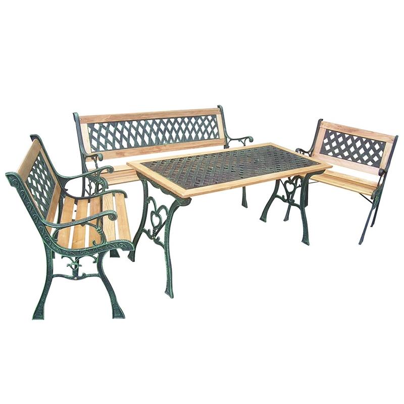 Tavoli In Ghisa Da Giardino.Salotto In Ghisa E Legno Rombo 4 Posti Arredo Giardino Com