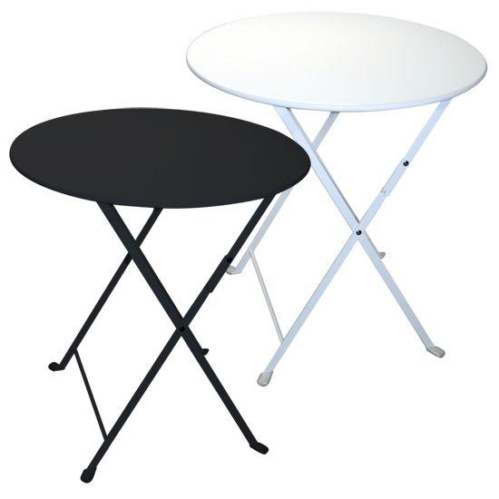 Tavolo pieghevole da giardino in acciaio lario rotondo for Tavolini da esterno in ferro