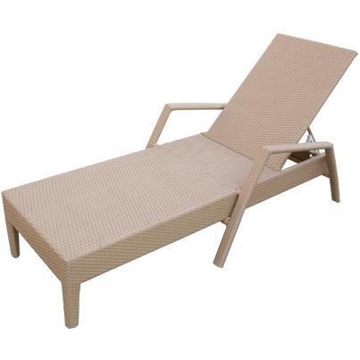 Lettino chaise longue con braccioli in rattan sintetico e - Chaise longue giardino ...