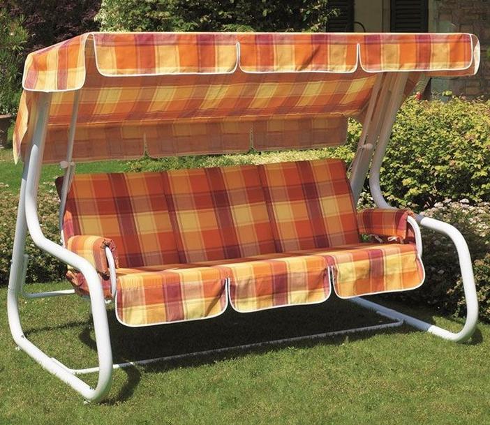 Dondolo 4 posti in acciaio MASTER PIU' bianco by Scab, trasformabile in letto, cuscini fantasia