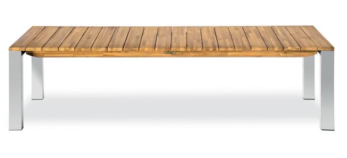 Panca rettangolare in legno di teak e acciaio FARO