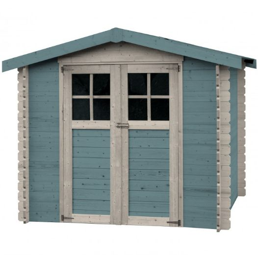casetta in legno massello alexandra colorata azzurro