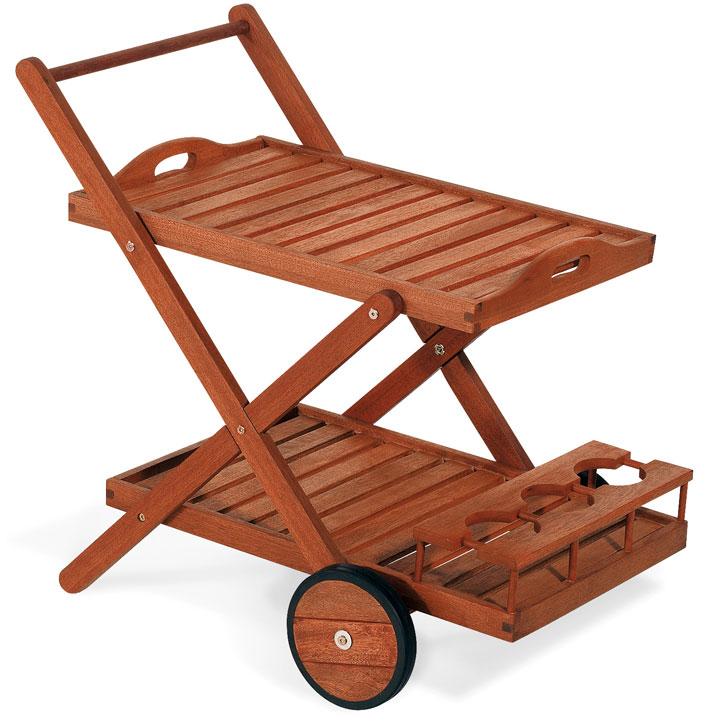 Carrello portaviande e bar in legno di keruing GINEPRO con ruote