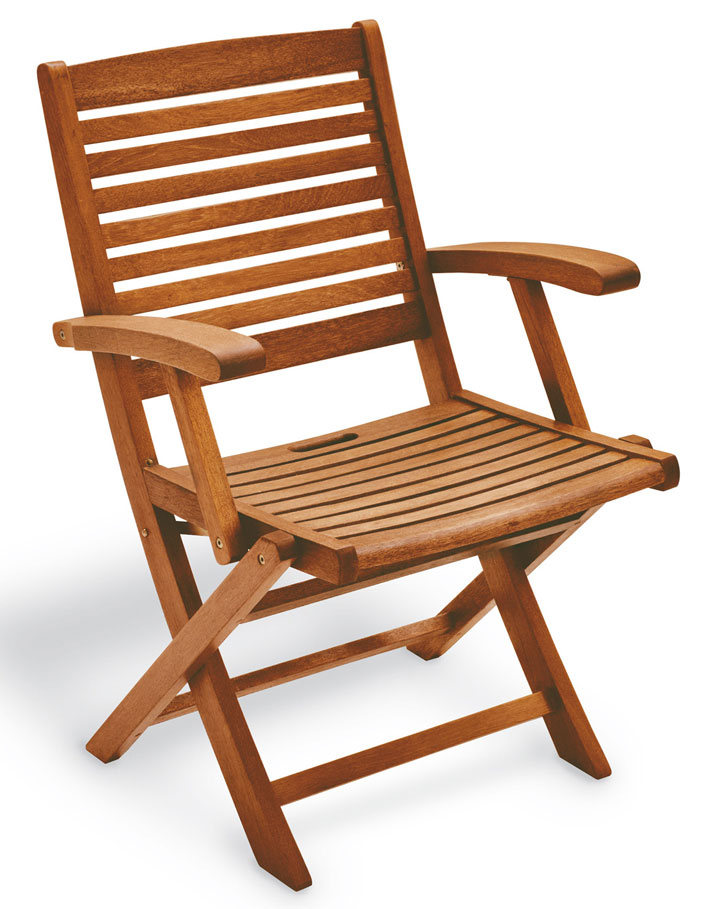 Sedia pieghevole in legno di keruing MARANTA, con o senza braccioli/sistema reclinabile