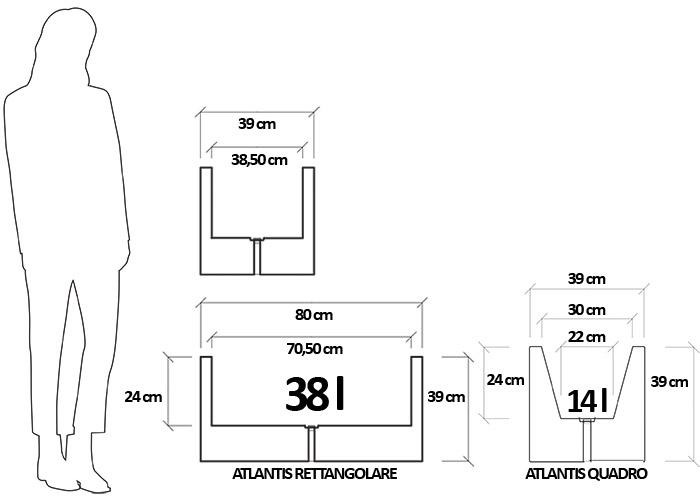 Dimensioni Fioriera da giardino divisoria in polietilene AMARANTO