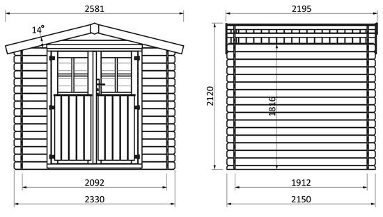dimensioni casetta in legno alex