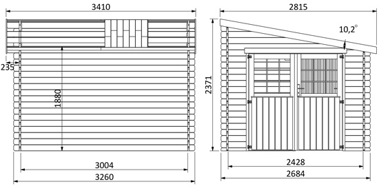 dimensioni casetta in legno Astro
