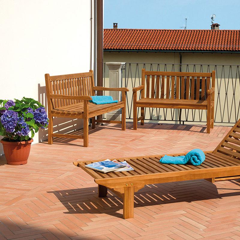 Panca lampedusa 3 posti in legno teak arredo for Massarosa arredamenti da giardino