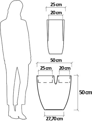 Dimensioni Fioriera da esterno in resina SABINA
