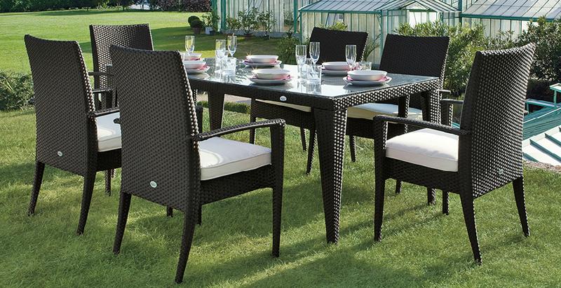 Set da giardino in wicker TWIST, con 6 sedie