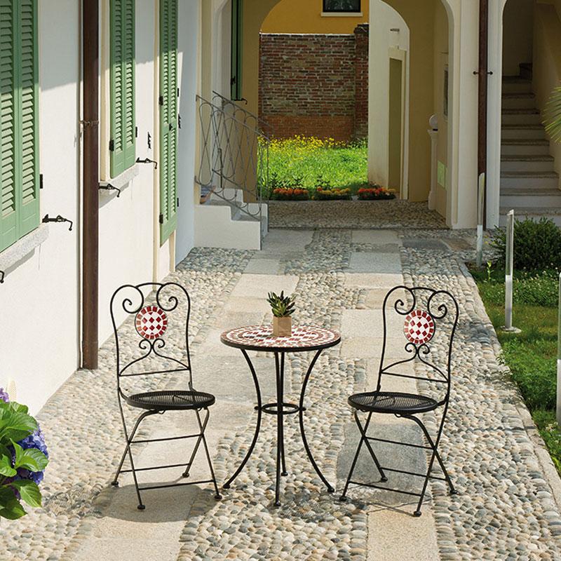Sedia pieghevole da giardino in ferro e mosaico in ceramica VITTORIA