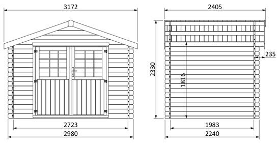 dimensioni casetta in legno Calla