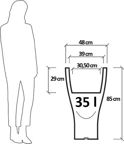 Dimensioni Vaso da giardino in polietilene BUCANEVE