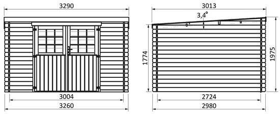 dimensioni casetta in legno Dafne
