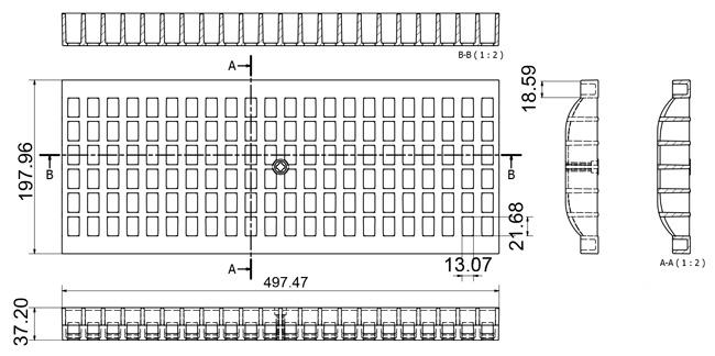 Disegni tecnici griglia EXTRA STRONG per canaletta in PP