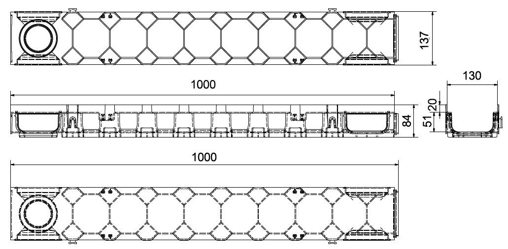 Dimensioni canaletta PEGASUS PLUS per lo scolo delle acque piovane