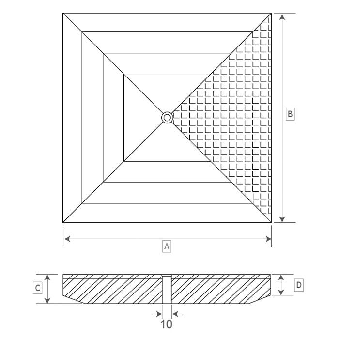 Dimensioni del coperchio per pozzetto modello PLUS