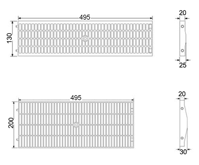 Disegni tecnici delle griglie con maniglia antitacco