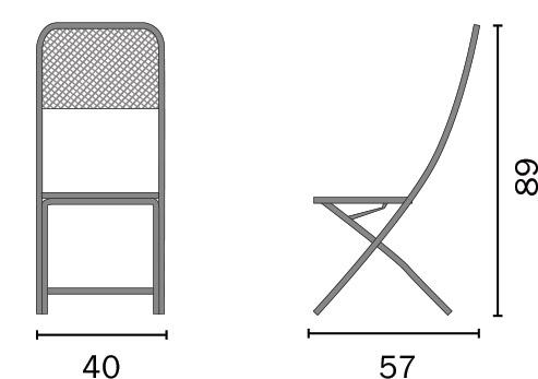 Dimensioni Sedia pieghevole in ferro ISPRA