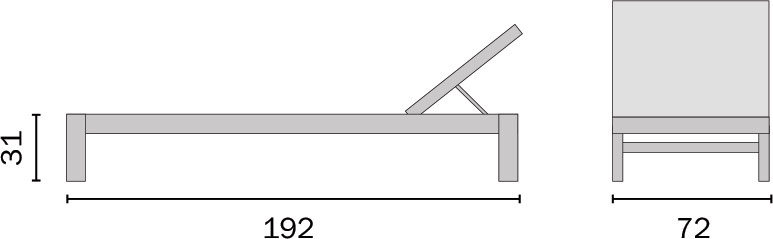 Dimensioni Lettino prendisole da esterno in Wicker SAPRI