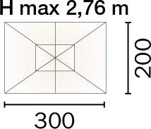 Dimensioni Ombrellone rettangolare DELUX 3x2 m in legno, con doppia carrucola