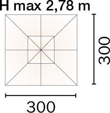 Dimensioni Ombrellone quadrato DELUX 3x3 m in legno, con doppia carrucola