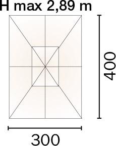 Dimensioni Ombrellone rettangolare DELUX 3x4 m in legno, con doppia carrucola