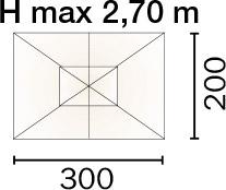 Dimensioni Ombrellone rettangolare LISBONA 3x2 m in alluminio, a manovella