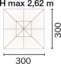 Ombrellone quadrato PARIGI 3 x 3 m in alluminio con LED, a manovella