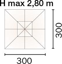 Dimensioni Ombrellone quadrato MAIORCA 3 x 3 m in alluminio, con maniglione