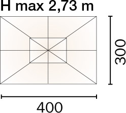 Dimensione Ombrellone rettangolare FARO 3 x 4 m in alluminio, con maniglione