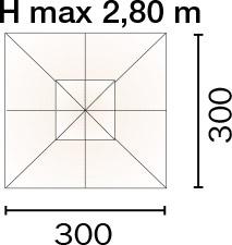 Dimensioni Ombrellone quadrato LISBONA 3x3 m in alluminio, a manovella