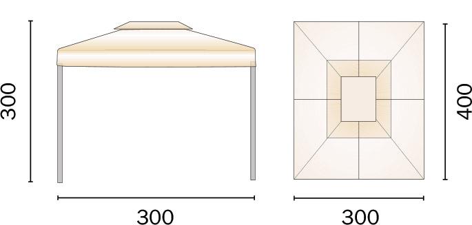 Dimensioni Gazebo in alluminio rettangolare RAVENNA 3x4 m