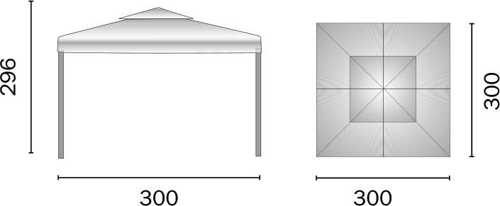 Dimensioni Gazebo in alluminio quadrato RAVENNA 3x3 m