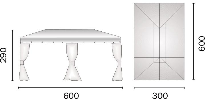 Dimensioni Gazebo in alluminio rettangolare RAVENNA 3x6 m