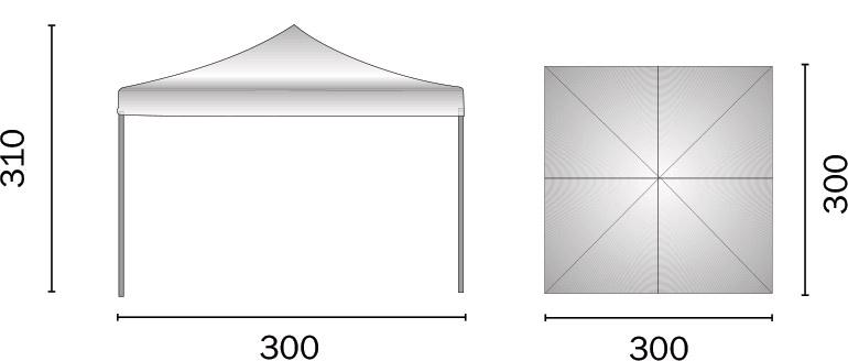 Dimensioni Gazebo pieghevole in alluminio quadrato FIERA 3x3 m
